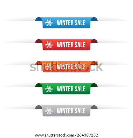 Winter sale paper tag labels  - stock vector
