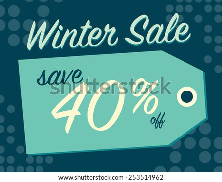 Winter sale sign tag with 40% off original price - stock vector