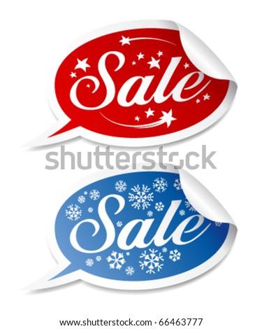 Winter Sale stickers vector set. - stock vector