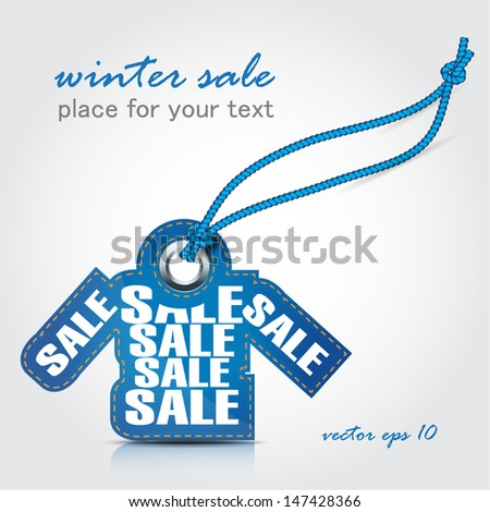 winter sale tag - stock vector