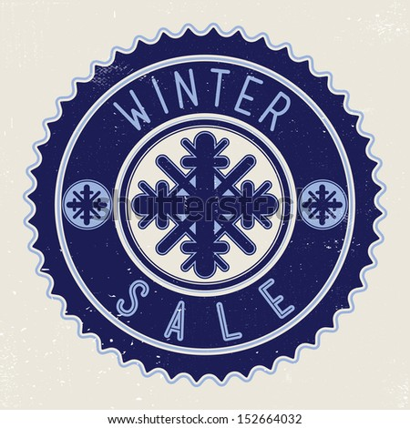 Winter sale with snowflakes on blue retro sticker - stock vector