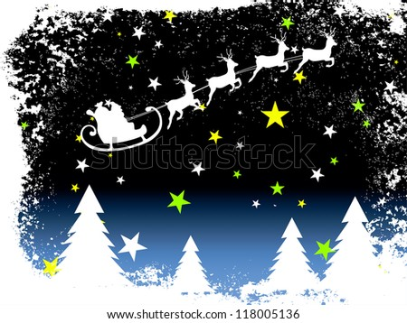Winter scene - christmas card - stock vector