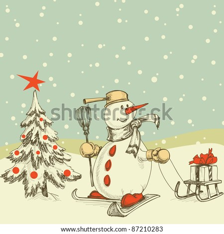 Winter scene Christmas tree and funny snowman - stock vector