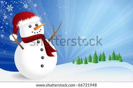 Winter scene, happy snowman - stock vector