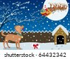 Winter Scene: Santa just brought a Christmas gift to the good doggy.  No transparency used. Basic (linear) gradients used. A4 proportions. - stock vector