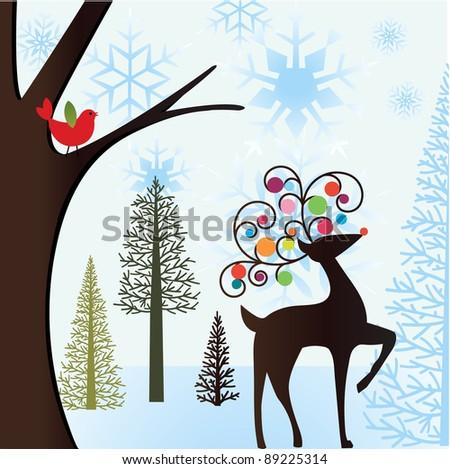 winter scene with bird and reindeer - stock vector