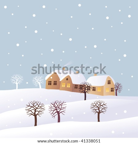 Winter scene with houses and snow.