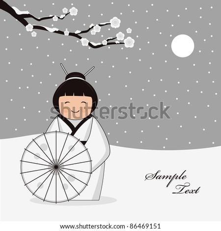 winter scene with japanese girl - stock vector