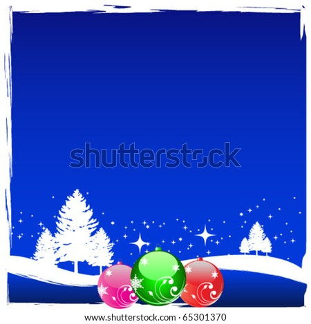 Winter scene with shiny christmas balls