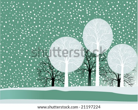 winter scene with snow and trees - stock vector