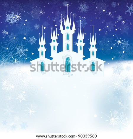 Winter scene with the ice castle - stock vector