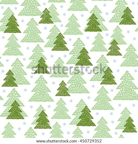 Winter seamless pattern of green mosaic fir trees and snowflakes. Simple geometric Happy New Year and Christmas background. Cold northern wood in Scandinavian style. Vector illustration. - stock vector