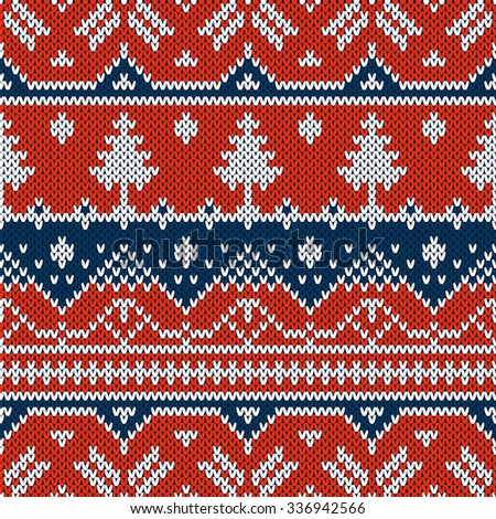 Winter seamless pattern. Sweater design with new year trees on the wool knitted texture. Vector blue and red Christmas and new year ornament - stock vector