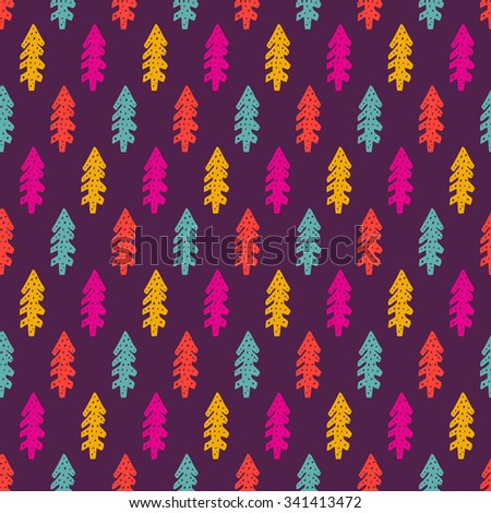 Winter seamless pattern with fir-tree in vector. Christmas background. Funny cartoon illustration with spruce tree. - stock vector