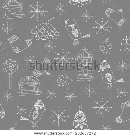 Winter seamless pattern with hand drawn doodle bird, mitten, sock, new year tree, cone, lollipop, bell and bird house and snowflakes on grunge background in grey and white - stock vector