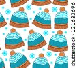 Winter seamless pattern with hats - stock vector