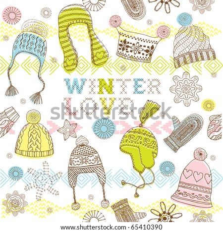 Winter seamless pattern with hats, mittens - stock vector