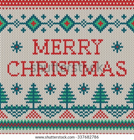 Winter seamless pattern with Merry Christmas text. Sweater design with new year trees on the wool knitted texture. Vector beige, green and red Christmas and new year ornament - stock vector