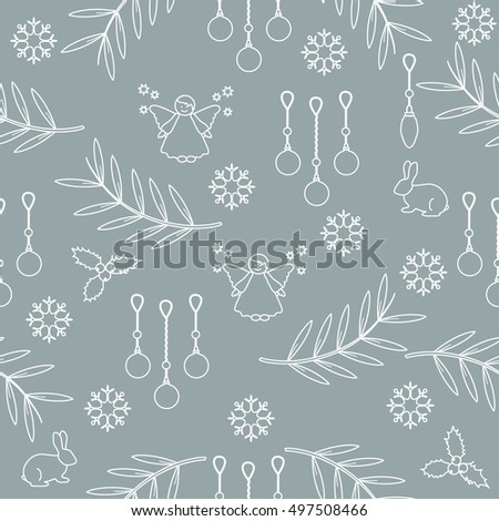 Winter seamless pattern with variety new year and christmas symbols. Christmas card template.