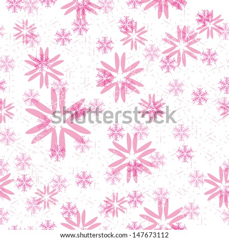winter seamless with abstract vector pink snowflakes