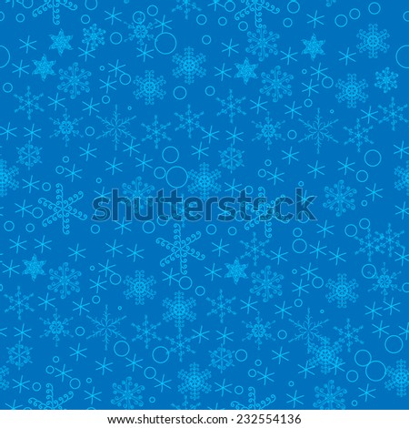 winter seamless with snowflakes - stock vector