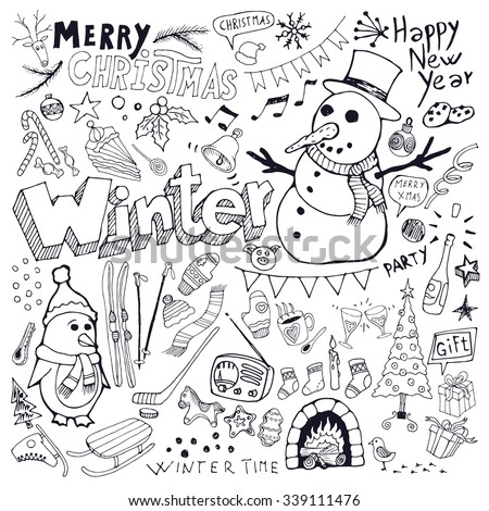 Winter season and Christmas themed doodle set. Freehand vector drawings isolated over white background.