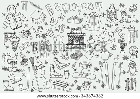 Winter season doodle set.Christmas symbols, new year elements.Knitted wear, winter sports,snowflakes,birds,snowman,fireplace with other Hand drawn vector, isolated over white background.Vintage - stock vector