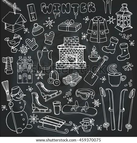 Winter Season Doodle Setknitted Wear Stock Vector 459370075