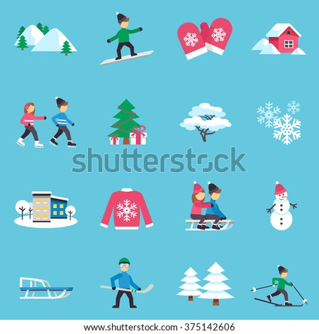 Winter season flat icons collection with presents under christmas tree and warm clothes abstract isolated vector illustration - stock vector