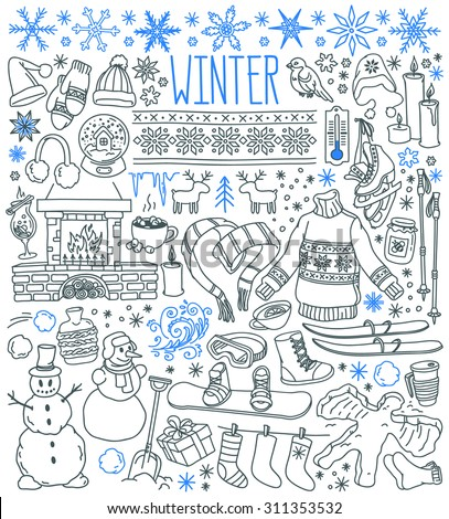 Winter season themed doodle set - snowflakes, icicles, classic ornaments, knitted wear, winter sports. Freehand vector drawings isolated over white background. - stock vector