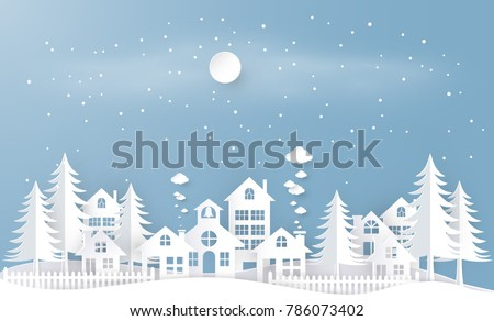 Winter season with paper art style. vector design element , illustration
