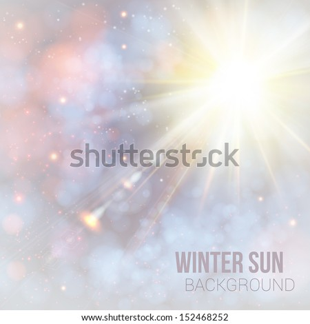 Winter shining sun with lens flare. Soft background with bokeh effect. Vector illustration. - stock vector