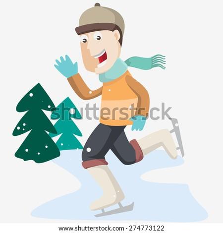 winter skating - stock vector