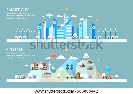 Winter - Smart City & Ecology village. Horizontal banners.