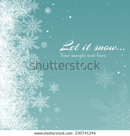 winter snow background, Christmas and New Year - stock vector