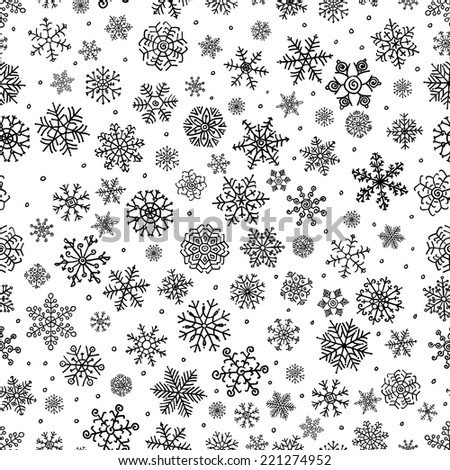 Winter Snow Flakes Doodles. Black and White Seamless Background Pattern. Hand-Drawn Vector Illustration. Pattern Swatch - stock vector