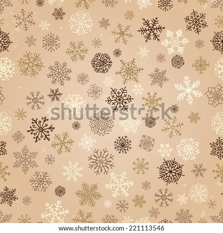 Winter Snow Flakes Doodles. Seamless Background Pattern. Hand-Drawn Vector Illustration.  Pattern Swatch - stock vector