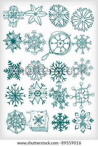 Winter Snow Flakes Doodles (vector) - stock vector