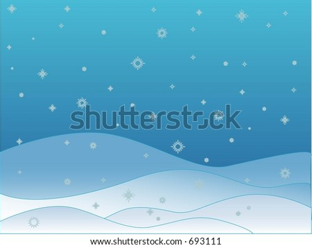 Winter Snow Scene with Snowflakes Falling - Vector - stock vector
