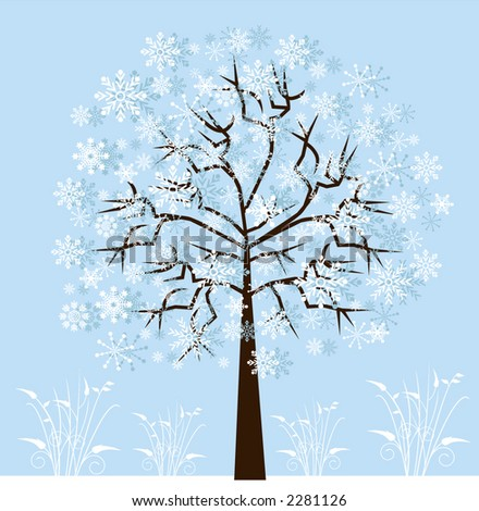 winter snowflake tree with grasses below - stock vector