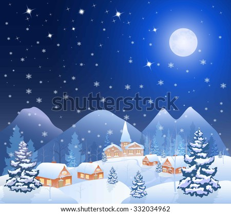 winter snowing village and christmas tree at night, mountains on the horizon, big moon in the starry sky, vector background - stock vector