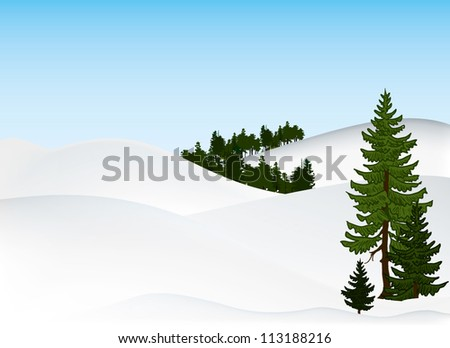 winter snowy background with trees - stock vector