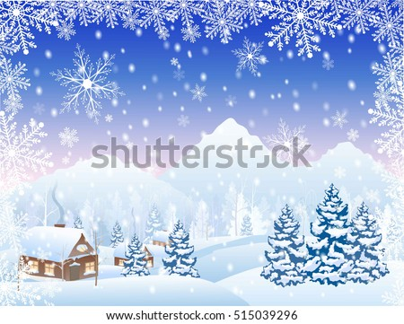 winter snowy village and forest scenery with mountain on horizon, and frame from snowflakes, vector illustration