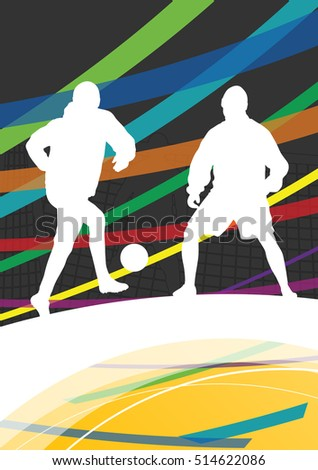 Winter soccer men football players active sport silhouettes vector abstract background illustration