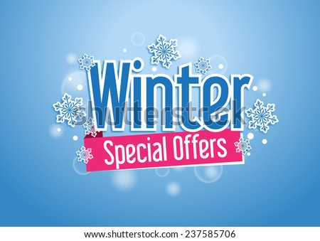 Winter Special Offers Word with Snows in Beautiful Blue Background - stock vector
