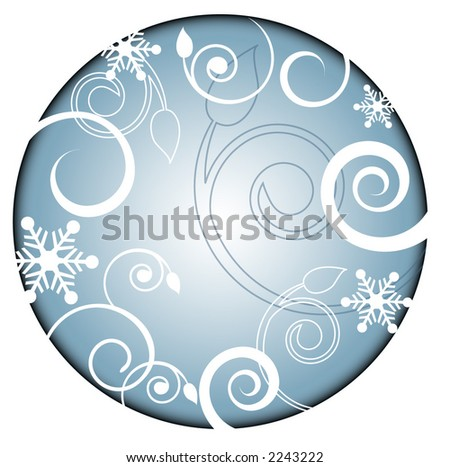winter spiral filigree and snowflakes - stock vector