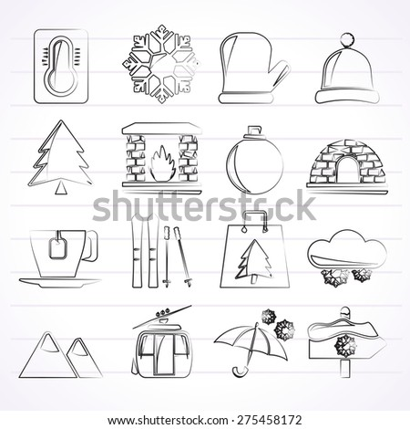 Winter, Sport and relax icons - vector icon set, Created For Print, Mobile and Web  Applications  - stock vector