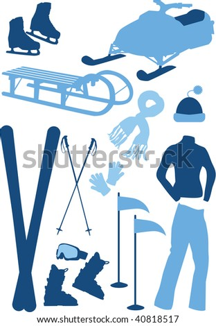 Winter sport equipment, winter clothes, vector illustration - stock vector