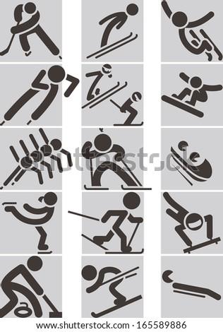 Winter sport icons  - stock vector