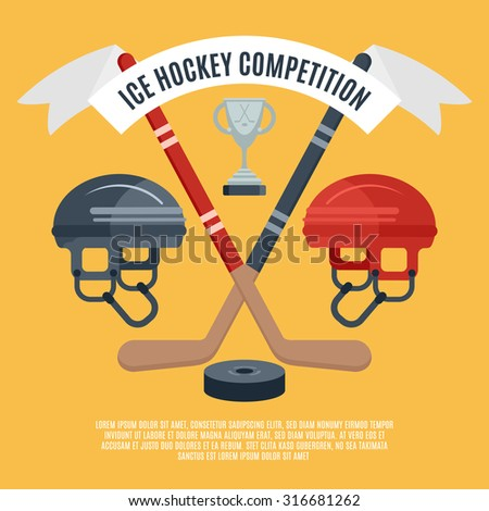 Winter sport season ice hockey competition award announcement flat banner with puck and sticks abstract vector illustration - stock vector